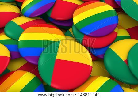 Benin Gay Rights Concept - Beninese Flag And Gay Pride Badges 3D Illustration