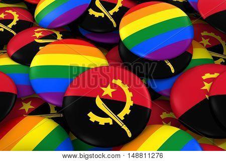 Angola Gay Rights Concept - Angolan Flag And Gay Pride Badges 3D Illustration