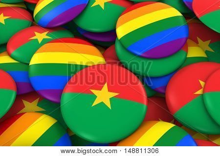 Burkina Faso Gay Rights Concept - Burkinabe Flag And Gay Pride Badges 3D Illustration