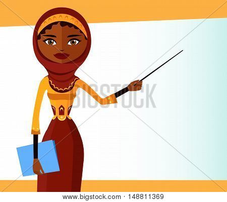 Arab teacher with a pointer. Young business woman presenting something flat cartoon vector illustration. Eps10. Isolated on a white background.