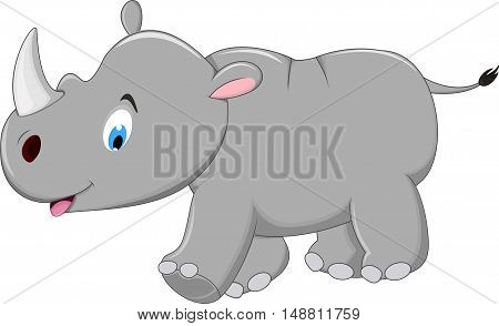 Cute Cartoon rhino for you design with background