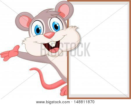 Cute mouse cartoon Waving hand with blank sign