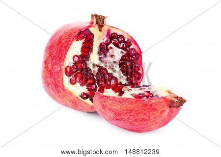 Ripe Pomegranate Fruit With Half