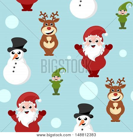 repeating background with Christmas cartoon characters vector illustration