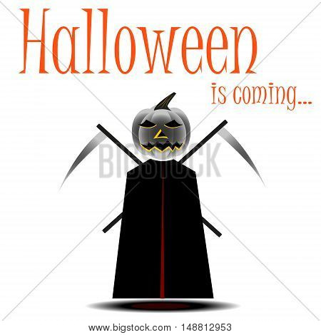 Death with scythe costume for Halloween cartoon style vector illustration isolated on white background. Spooky death fancy dress idea for Halloween traditional symbol of Halloween