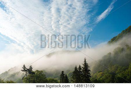 Morning in the Mountains. Foggy morning. Stratocumulus. Carpathians, Ukraine.