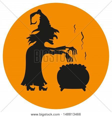 Cartoon witch brews a potion on the orange background. Vector icon.