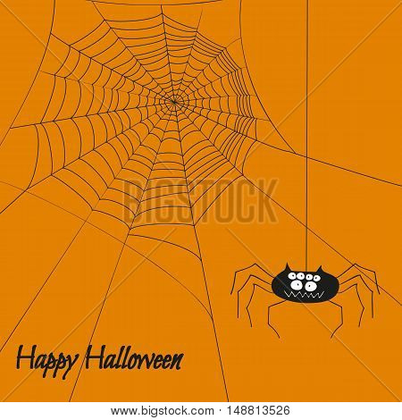 Halloween poster with cute spider and web isolated on orange background vector illustration.