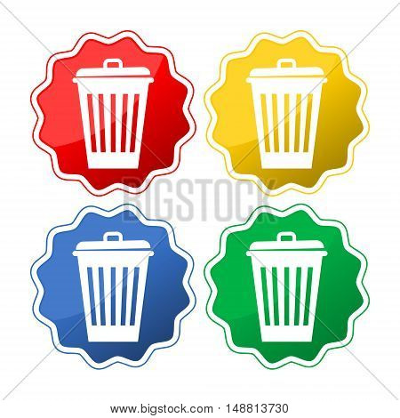 Trash can icon button on white background