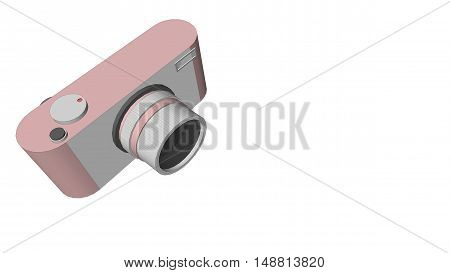 3D digital camera with rose gold color and retro design on white background.