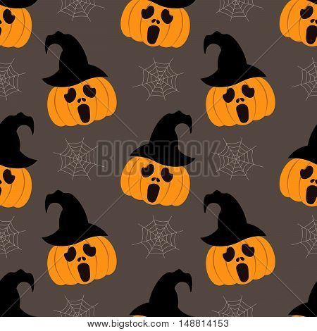 Seamless background for Halloween with pumpkins in hat and cobweb. Vector illustration in modern flat design.