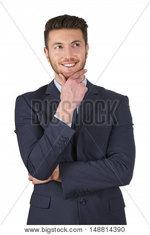 Business man thinking looking sideways Working Conceptual Business Concept