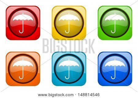 umbrella colorful web icons