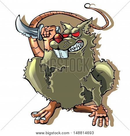 cartoon rat on white backgraund. vector illustration EPS10