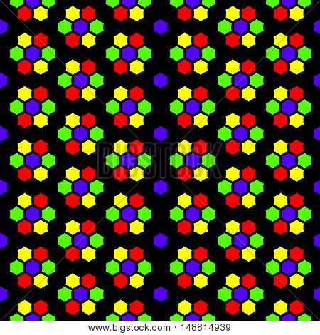 Abstract seamless pattern stained-glass mosaic colorful bright background. In red yellow green violet and black colours. Vector illustration eps 10