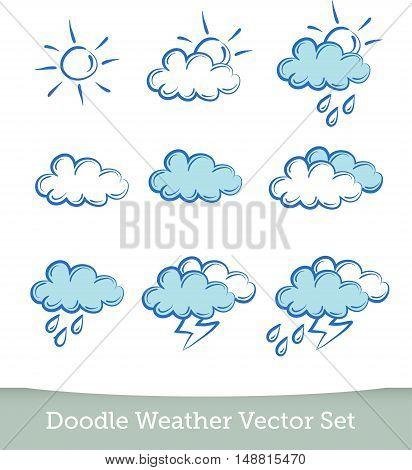 weather doodle set  isolated on white background. Vector EPS10