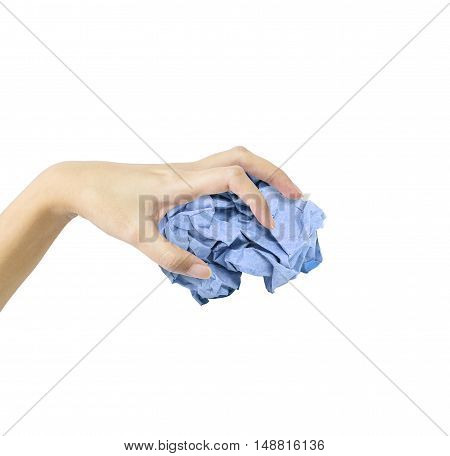 Closeup action of woman hand catching blue crumpled paper in hand isolated on white background