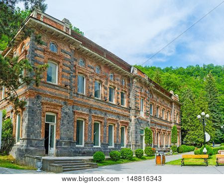 The mansion on the territory of Borjomi Mineral Water Park famous resort of Georgia.