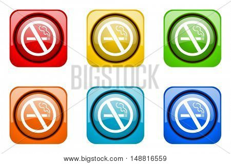 no smoking colorful web icons
