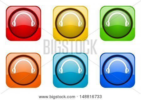 headphones colorful web icons