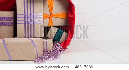 red bag with boxes and place for an inscription