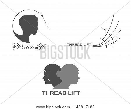 thread lifting logo, skin, icon with women face
