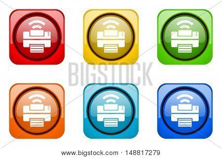 printer colorful web icons