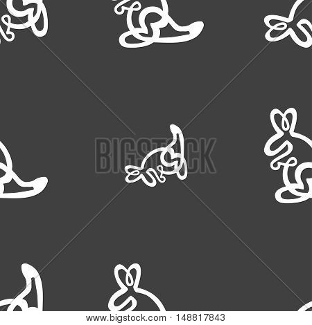 Kangaroo Icon Sign. Seamless Pattern On A Gray Background. Vector