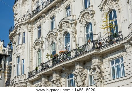 Architecture Vienna Art Nouveau houses on the Wienzeile by architect Otto Wagner