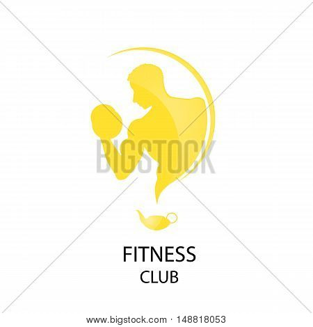 yellow logo fitness club sport style vector illustration