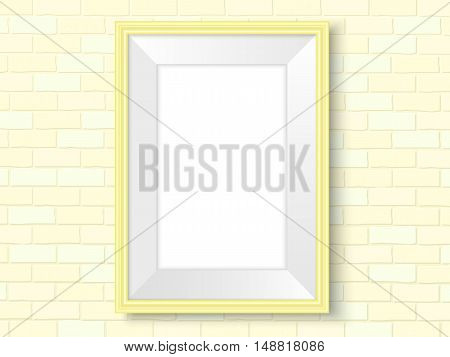 Frame On Brick Wall Yellow Interior Template Vector