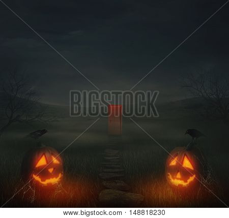 Horror halloween background of autumn valley with spooky trees jack-o'-lanterns with spider web and a pathway to a mysterious door. Scary faces trick or treat