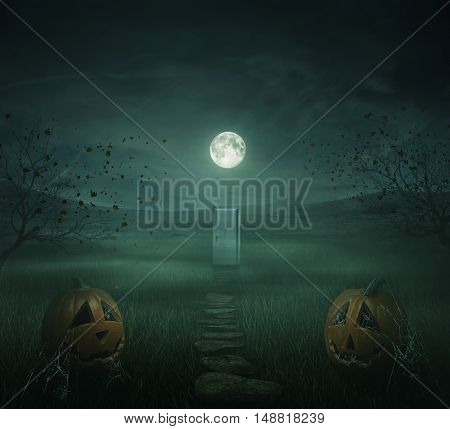 Horror halloween background of autumn valley with spooky trees pumpkins and spider web. Full moon illuminates the path towards a mysterious door