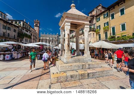 VERONA, ITALY- September 08, 2016: View on the aedicul  on Piazza delle Erbe (Market square) in Verona, Italy