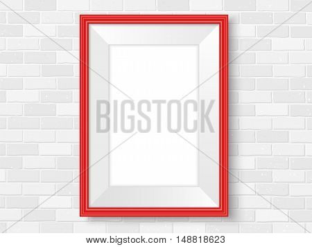 Frame on brick wall. Red photoframe mock up. Empty frame for modern interior design. Isolated vector illustration. Realistic vector template for posters paintings or photos.