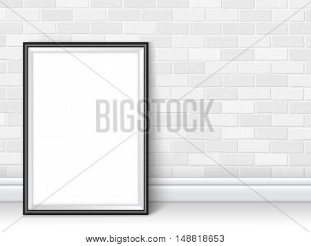 Frame Template Near Brick Wall On The Floor Vector Black White