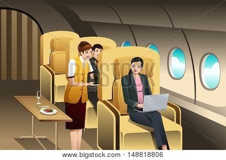A vector illustration of First Class Passengers Being Served by the Flight Attendant