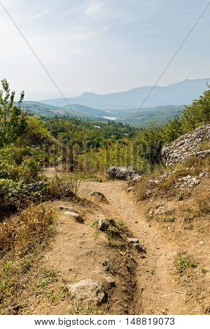 Canyon of mountains. Panorama view. Demerdzhi mountains near Alushta. Crimea Russia.