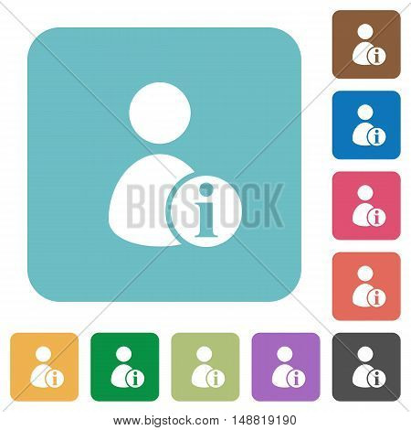 Flat User account information icons on rounded square color backgrounds.