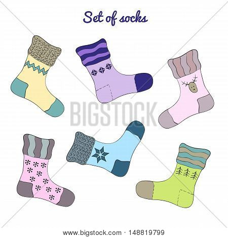 Set of colorful socks on the white background.