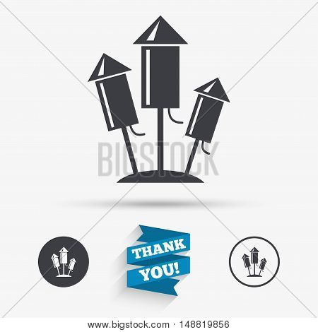 Fireworks rockets sign icon. Explosive pyrotechnic device symbol. Flat icons. Buttons with icons. Thank you ribbon. Vector