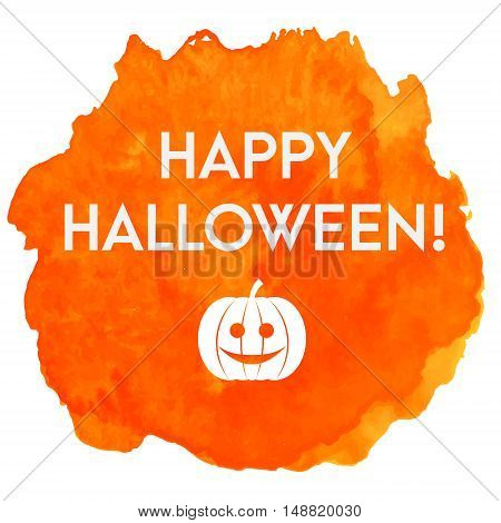 Artistic happy halloween vector banner with watercolor blob and pumpkin. Background invitation greeting card design template