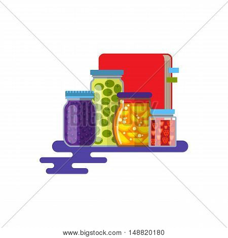 Home preserving. Glass jars and recipe book. Flat Design Style. Vector illustration