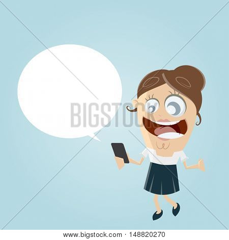 happy businesswoman with smartphone and empty speech bubble