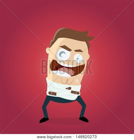 evil laughing man in straightjacket
