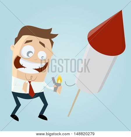funny businessman starting a big fireworks rocket