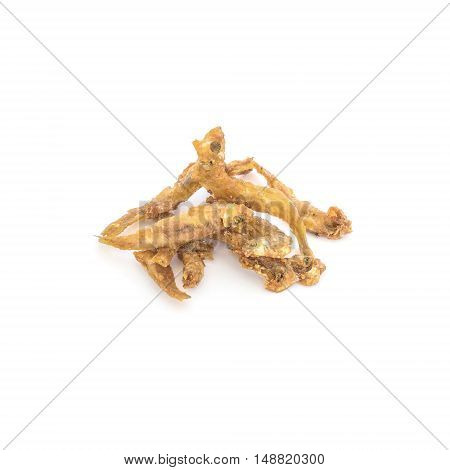Closeup fried little fish isolated on white background