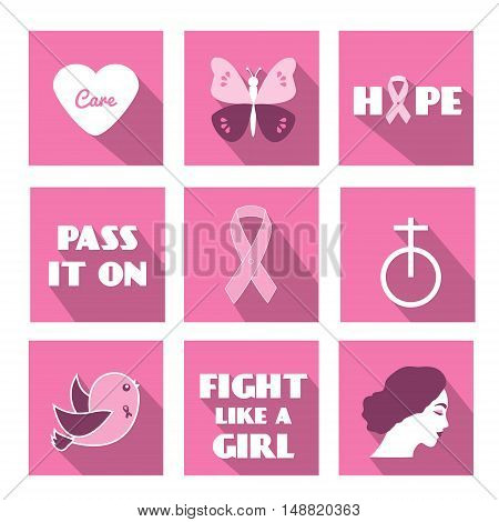 Breast cancer awareness month vector icons in flat style with long shadows. Slogan phrases and symbols of pink ribbon hope and etc. For web applications stickers and other business