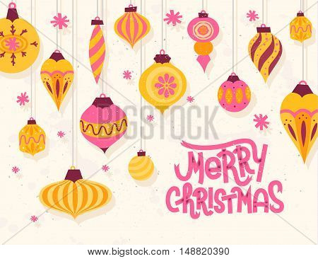 Festive Christmas Greeting Card With 50S Retro Style Christmas Ornaments