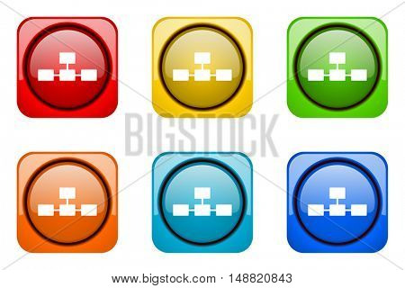 database colorful web icons